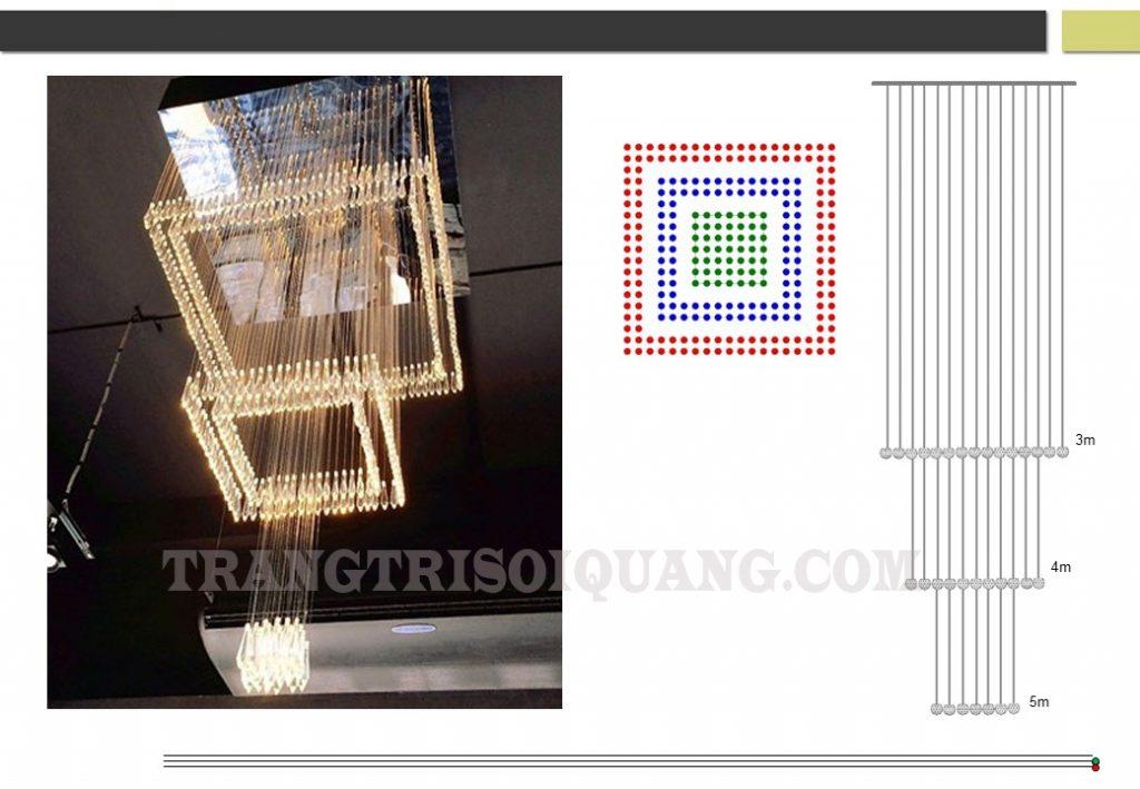 Đèn chùm sợi quang thiết kế phù hợp với vị trí thông trần, giếng trời, khoảng thông tầng cầu thang, trung tâm thương mại hay đại sảnh của công ty. Đèn chùm thông tầng với hiệu ứng thay đổi màu sắc nhiều chế độ, kết hợp với hạt pha lê tinh thể phát sáng. Làm nên một tác phẩm tuyệt đẹp, đem đến vẻ đẹp lung linh hơn cho không gian của bạn.